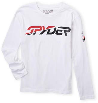 Spyder Boys 8-20) White Long Sleeve Broken Logo Tee