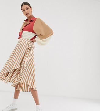 GHOSPELL exclusive midi wrap skirt with tie waist in stripe satin-Cream