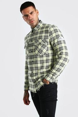boohoo Mens Yellow MAN Check Shirt With Woven Tab And Raw Hem, Yellow