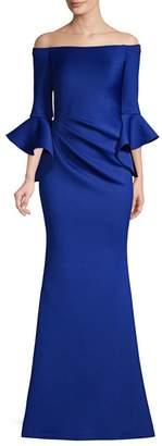 Jovani Off-Shoulder Bell Sleeve Gown