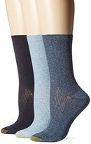 Gold Toe Women's Non-Binding Extended Size Rib Crew Sock (Pack of 3)