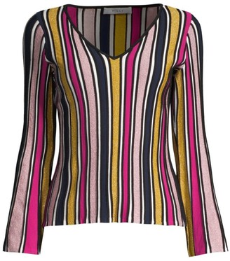 Milly Stripe Ribbed Bell-Sleeve Top