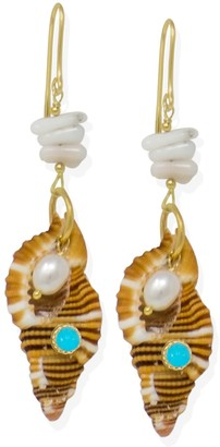 Vintouch Italy Coral & Pearl Earrings With Turquoise Triton Shell