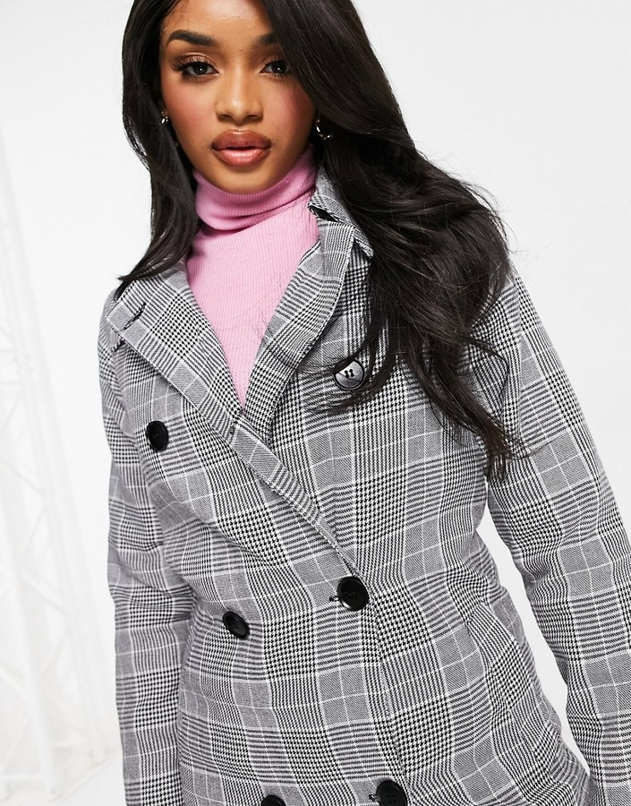 Thumbnail for your product : Parisian double breasted longline mac in check