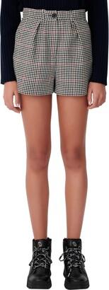 Maje Houndstooth Check Shorts