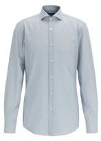 HUGO BOSS - Striped Slim Fit Shirt In Traceable Merino Wool - Blue