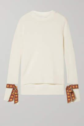 Oscar de la Renta Jacquard-trimmed Merino Wool And Silk-blend Sweater - Ivory