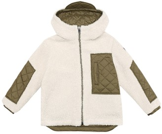 Il Gufo Reversible quilted teddy jacket