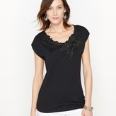 Anne Weyburn Guipure and Cotton Modal T-Shirt