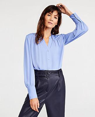 Ann Taylor Petite Shirred Split Neck Blouse