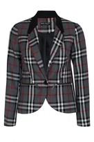 Select Fashion Fashion Womens Grey Tartan Jacket - size 6