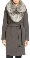 Elie Tahari Women's Wrap Coat With Genuine Fox Fur Collar