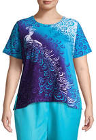 Alfred Dunner All Aflutter Peacock T-Shirt- Plus