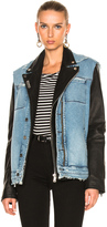 RtA Leather & Denim Detach Jacket