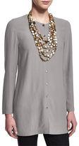 Eileen Fisher Long Silk Button-Front Blouse, Petite