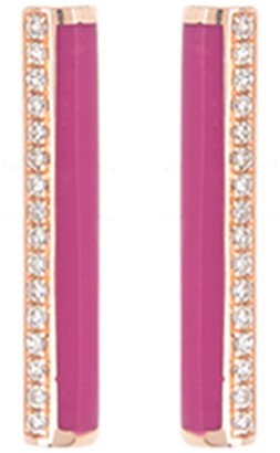 Ef Collection 14K Rose Gold Pave Diamond & Enamel Bar Stud Earrings - 0.09 ctw