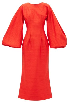 Rasario Balloon-sleeve Raw-silk Dress - Red