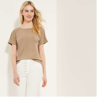 Joe Fresh Women's Relaxed-Fit Tee, Brown (Size M)