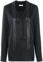 Paco Rabanne long embellished blouse - women - Silk/Acetate/Viscose/Aluminium - 38