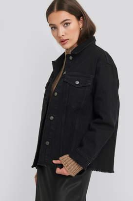 NA-KD Raw Hem Long Denim Jacket Black
