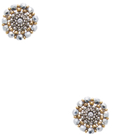 Miguel Ases Round Beaded Stud Earrings