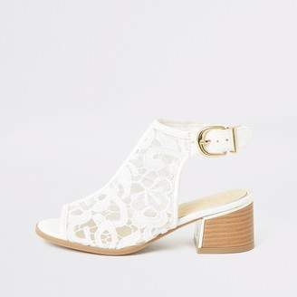 River Island Girls White lace open toe heeled shoeboots