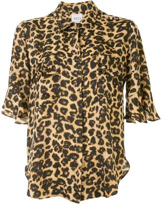 MISA Leopard Print Short-Sleeve Shirt