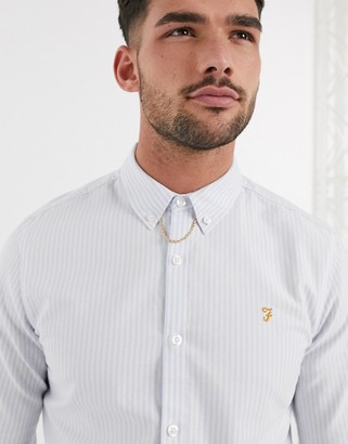Farah Brewer striped shirt in white and blue