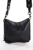 J.Crew J Crew Black Leather Zipper Trim Small Crossbody Handbag