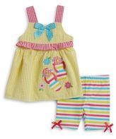 Nannette Seersucker Dress and Striped Shorts Set