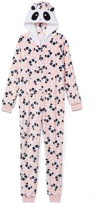 Rene Rofe Girl Girls' One-Piece Pajamas CONVERCHAR - Pink & Black Panda Animal-Hood One-Piece Pajama - Girls
