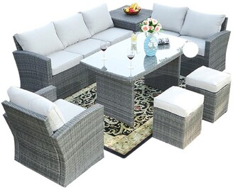 Direct Wicker 7-Piece Wicker Patio Furniture Outdoor Seating Conversation Set with Table Ottomans and Luxury Cushions