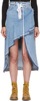Off-White Blue Asymmetric Denim Skirt