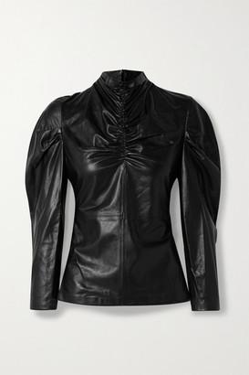 IRO Meyjar Ruched Leather Top - Black