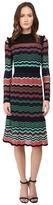 M Missoni Colorful Ripple Stitch Long Sleeve Mid Length Dress w/ Ruffle Collar Women's Dress