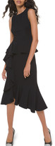 Michael Kors Asymmetric Cascading Sheath Dress