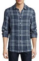 Michael Kors Tailored-Fit Linen Sport Shirt, Navy