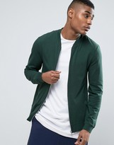 Asos Lightweight Muscle Jersey Bomber Jacket In Green