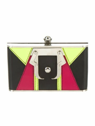 Paula Cademartori Colorblock Box Clutch Black