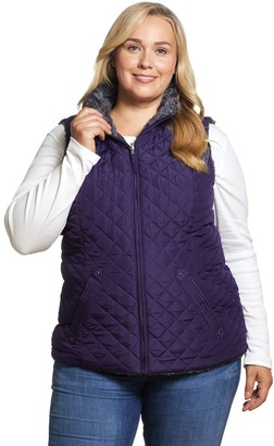 Plus Size Weathercast Quilted Reversible Faux-Fur Vest