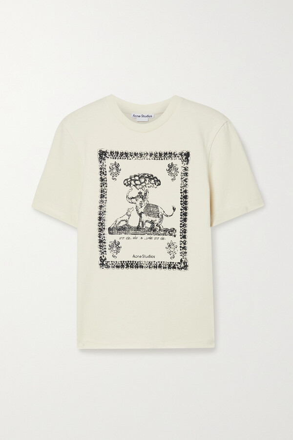Thumbnail for your product : Acne Studios + Net Sustain Printed Organic Cotton-jersey T-shirt - Ecru