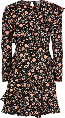 River Island Girls Black floral ruffle long sleeve dress