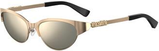 Moschino Oval Mirrored Metal Sunglasses w/ Logo Detail