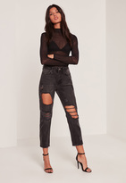 Missguided Black High Rise Cropped Distressed Mom Jeans