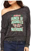 VISHTEA Jolliest Bunch of A-Holes Ladies T-Shirt Holiday Xmas Ugly Sweater Nuthouse Shirts Black 1053