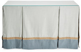 One Kings Lane Eden Skirted Console - Teal/Mist - upholstery, teal/mist; glass, clear