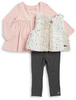 Kids Headquarters Girls 2-6x Faux Fur Vest, Top and Leggings Set