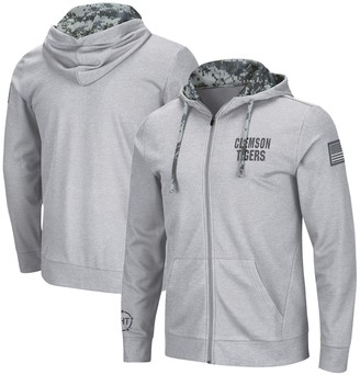 Colosseum Men's Heathered Gray Clemson Tigers OHT Military Appreciation Digi Camo Waffle Knit Full-Zip Hoodie