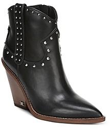 Sam Edelman Women's Iris Studded Leather Block Heel Booties