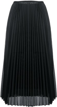 Moncler Perforated Pleated Satin Midi Skirt